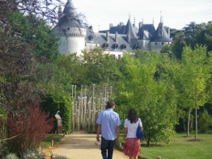 The spires of Chaumont sur Loire Chateau are seen beyond one of the Gardens of the Future which competed in the April to October  2011 International Garden Festival.