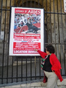 A poster at the 2,000 year old Roman arena advertises an upcoming bullfight in Arles.