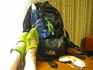 My backpack, sleep mask and earplugs are basics for every trip. These neoprene shoes, a bottle water that folds flat when empty also help make a long flight more comfortable. See what else helps me sleep and arrive refreshed even on long haul overnight flights.