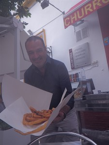 We're offered churros, the distinctly Spanish donut.